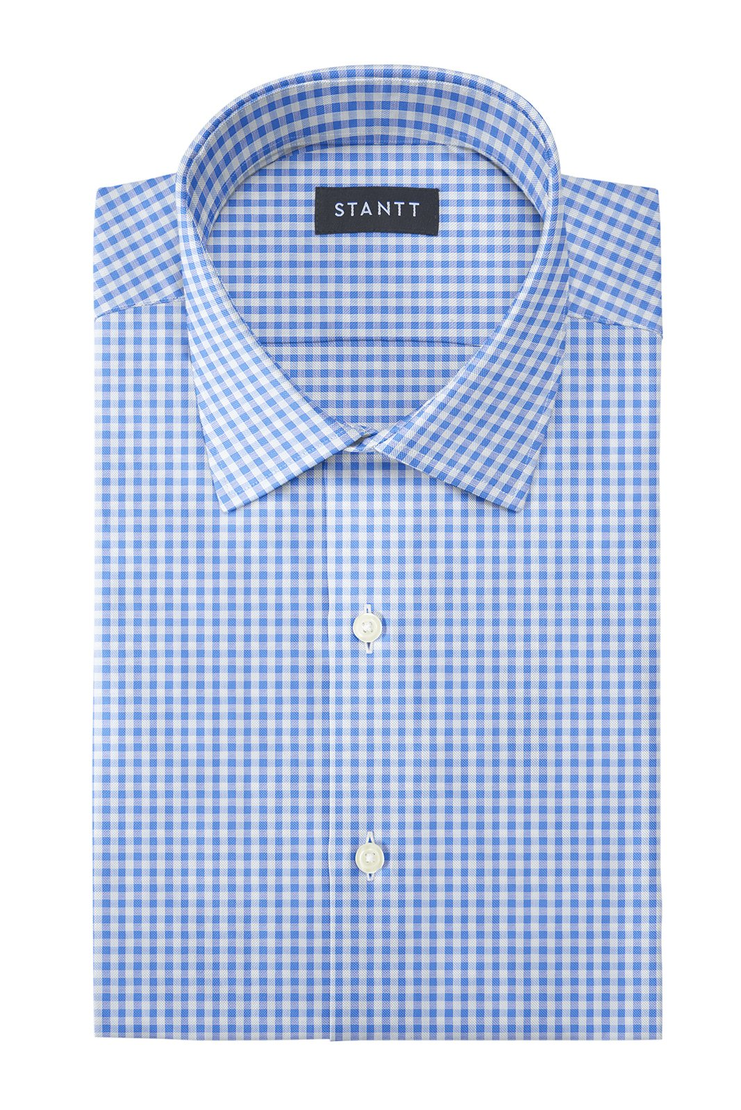 Bishop Blue Gingham: Modified-Spread Collar, French Cuff