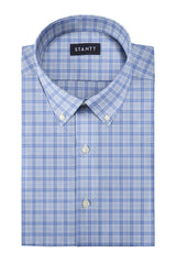 Matrix Blue on Blue Dress Plaid: Button-Down Collar, Barrel Cuff