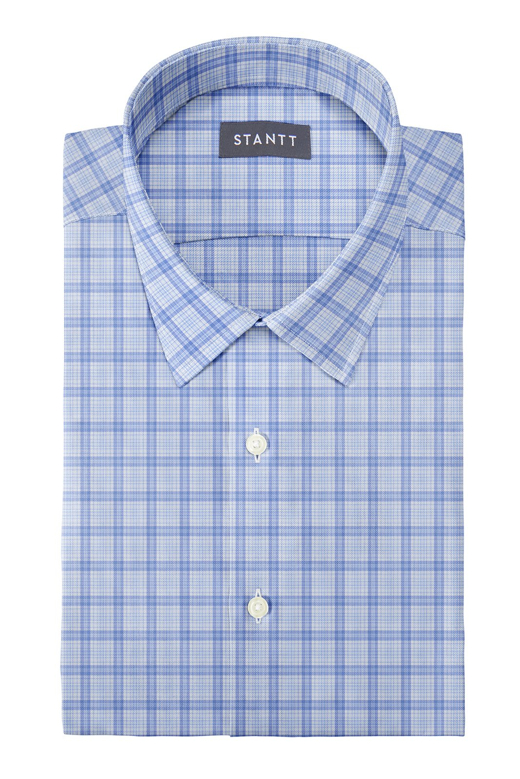Matrix Blue on Blue Dress Plaid: Semi-Spread Collar, Barrel Cuff