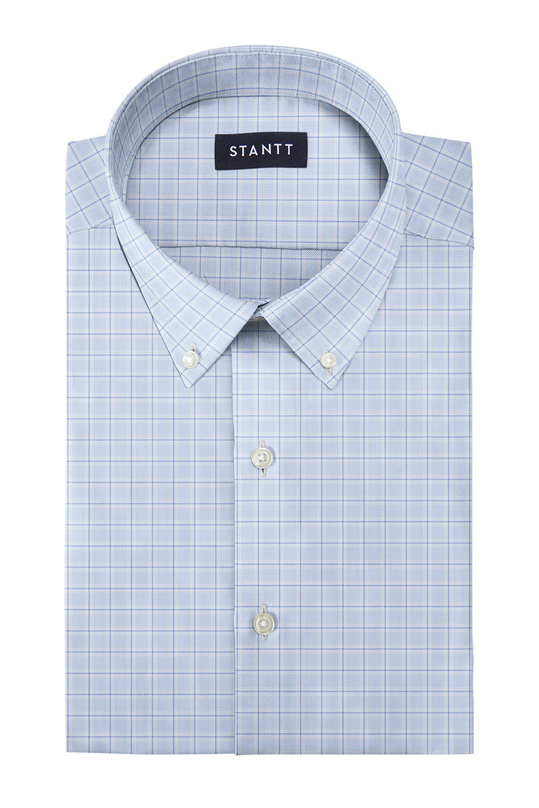 Matrix Blue on Blue Dress Check: Button-Down Collar, Barrel Cuff