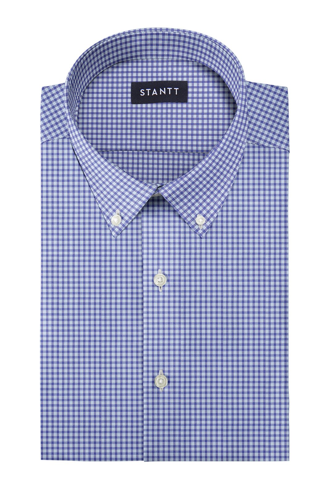 Duca Blue Mini Gingham: Button-Down Collar, Barrel Cuff