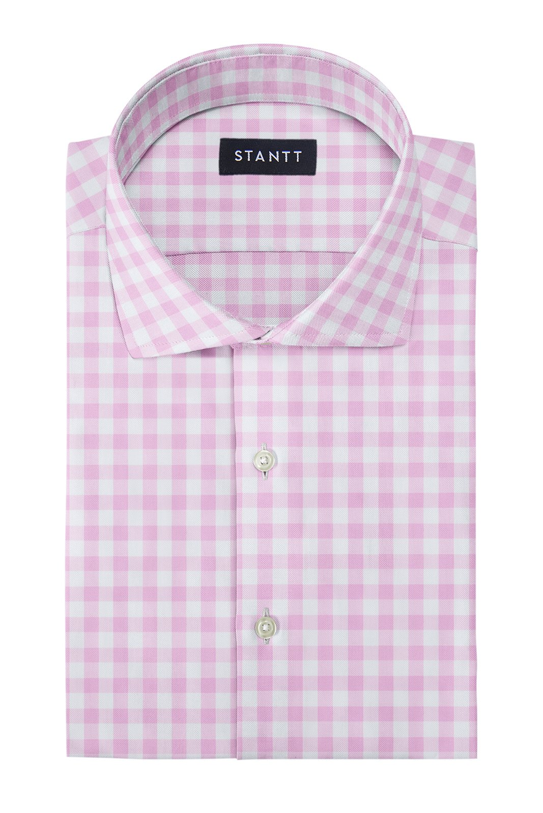 Duca Pink Gingham: Cutaway Collar, French Cuff