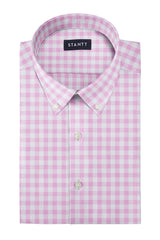 Duca Pink Gingham: Button-Down Collar, Barrel Cuff