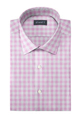 Duca Pink Gingham: Modified-Spread Collar, French Cuff