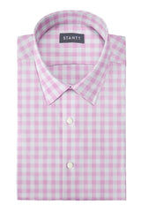 Duca Pink Gingham: Semi-Spread Collar, French Cuff
