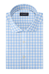 Duca Light Blue Gingham: Cutaway Collar, French Cuff