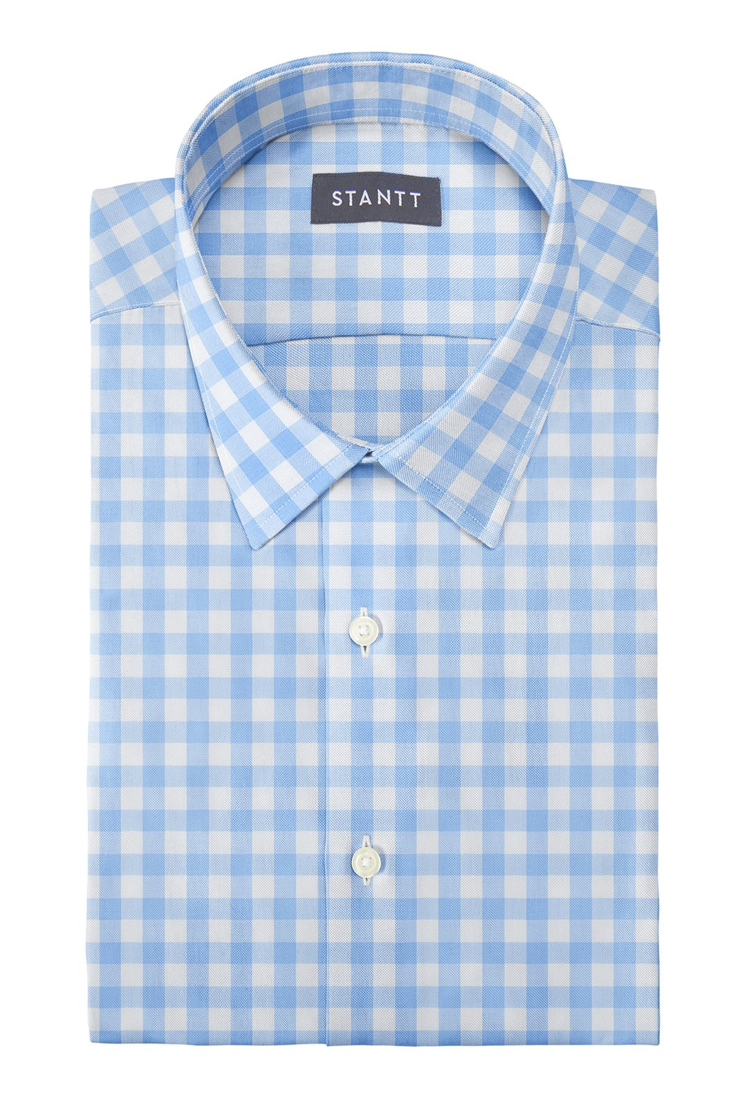 Duca Light Blue Gingham: Semi-Spread Collar, Barrel Cuff