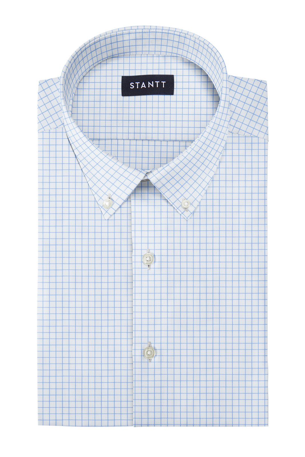 Light Blue Windowpane: Button-Down Collar, Barrel Cuff