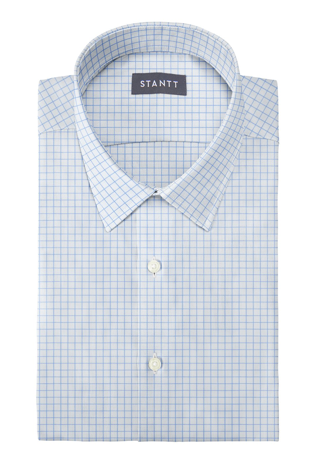 Light Blue Windowpane: Semi-Spread Collar, French Cuff