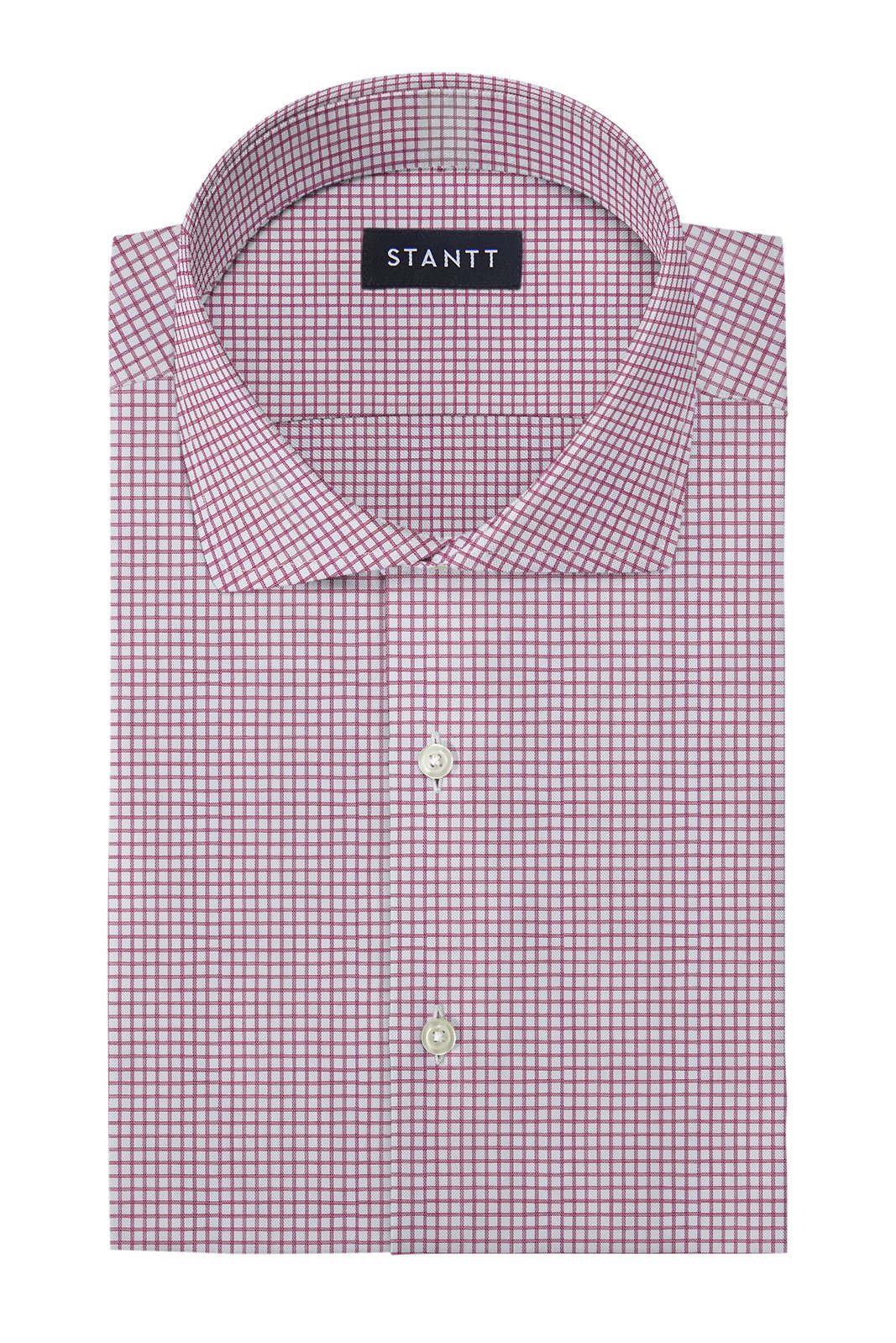 Wrinkle-Resistant Burgundy Dobby Check: Cutaway Collar, French Cuff