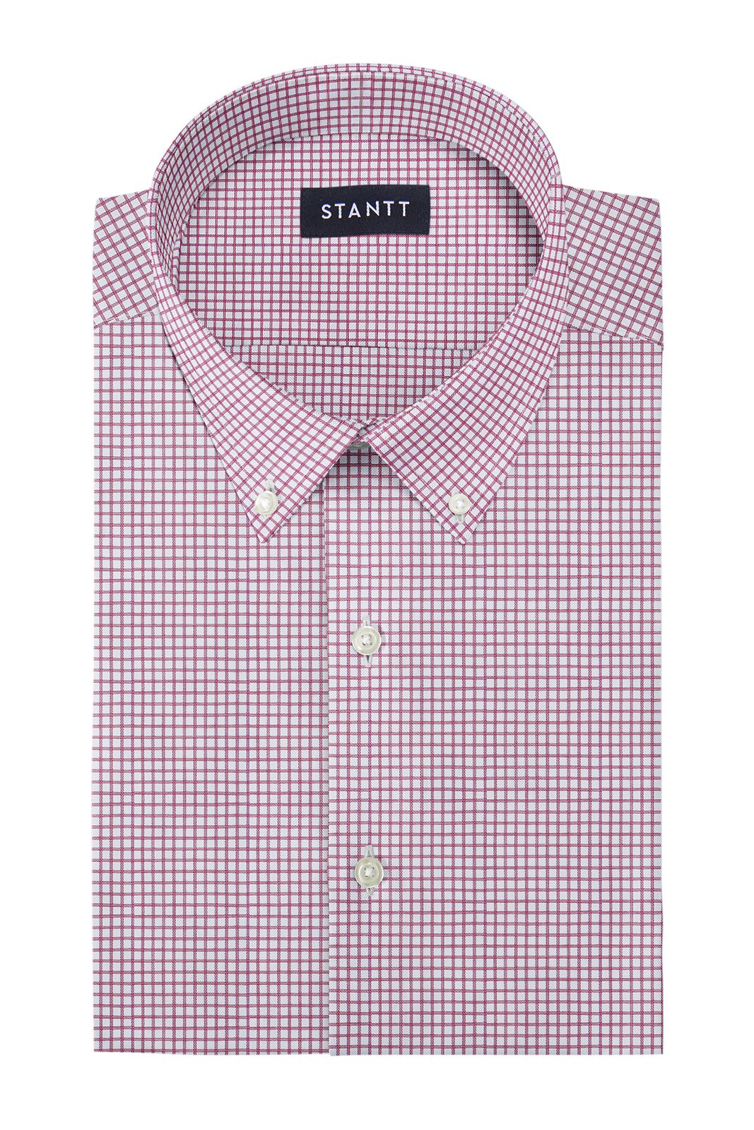 Wrinkle-Resistant Burgundy Dobby Check: Button-Down Collar, Barrel Cuff