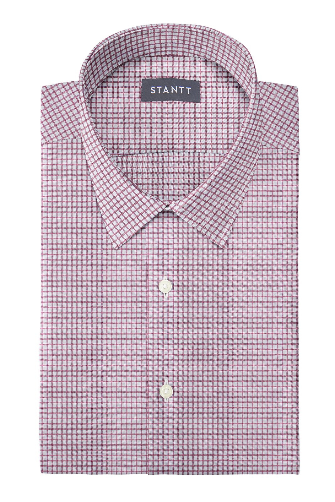 Wrinkle-Resistant Burgundy Dobby Check: Semi-Spread Collar, Barrel Cuff