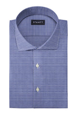Wrinkle-Resistant Navy Prince of Wales Check: Cutaway Collar, French Cuff