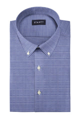 Wrinkle-Resistant Navy Prince of Wales Check: Button-Down Collar, Barrel Cuff