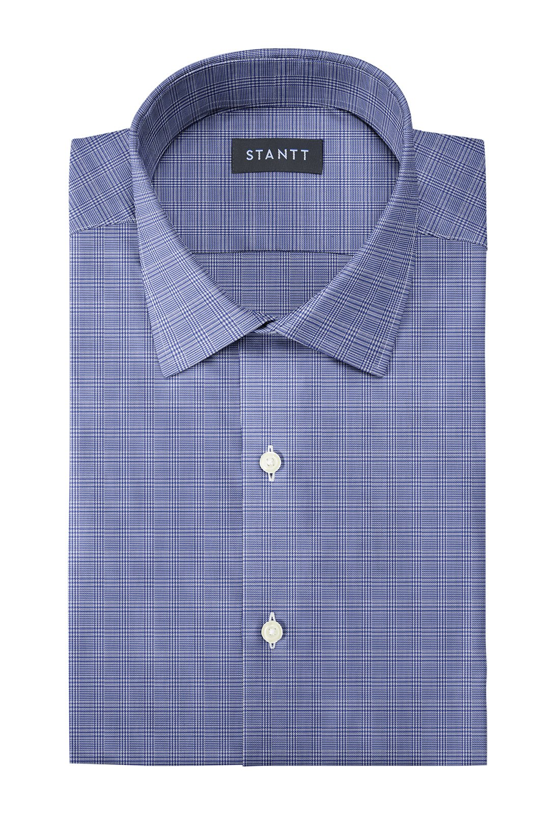 Wrinkle-Resistant Navy Prince of Wales Check: Modified-Spread Collar, French Cuff