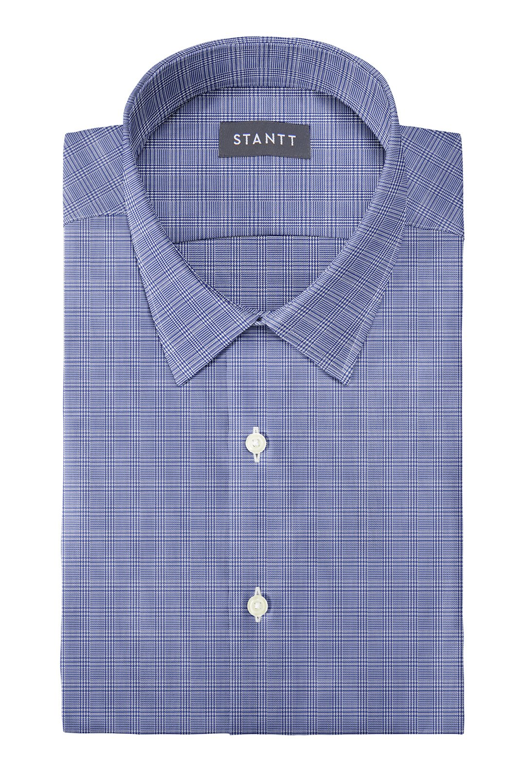 Wrinkle-Resistant Navy Prince of Wales Check: Semi-Spread Collar, French Cuff