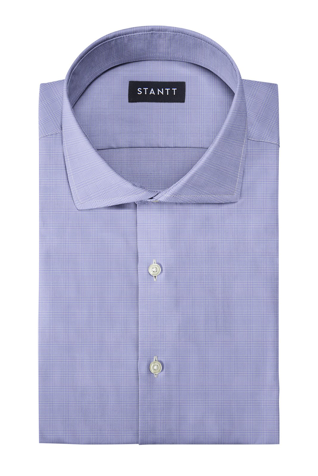 Wrinkle-Resistant Lavender Prince of Wales Check: Cutaway Collar, French Cuff