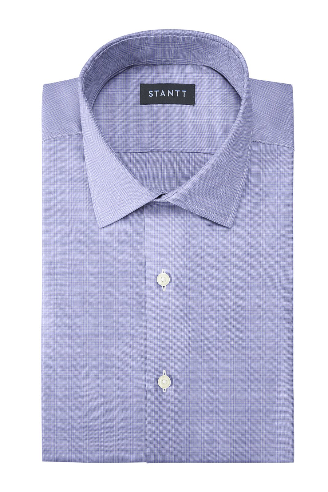 Wrinkle-Resistant Lavender Prince of Wales Check: Modified-Spread Collar, French Cuff