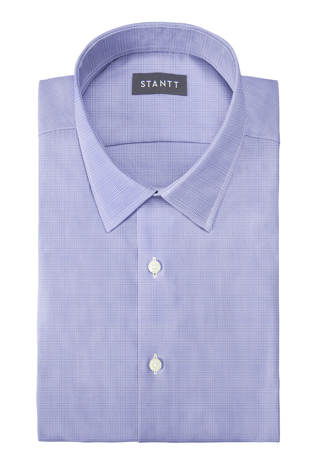 Wrinkle-Resistant Lavender Prince of Wales Check: Semi-Spread Collar, Barrel Cuff