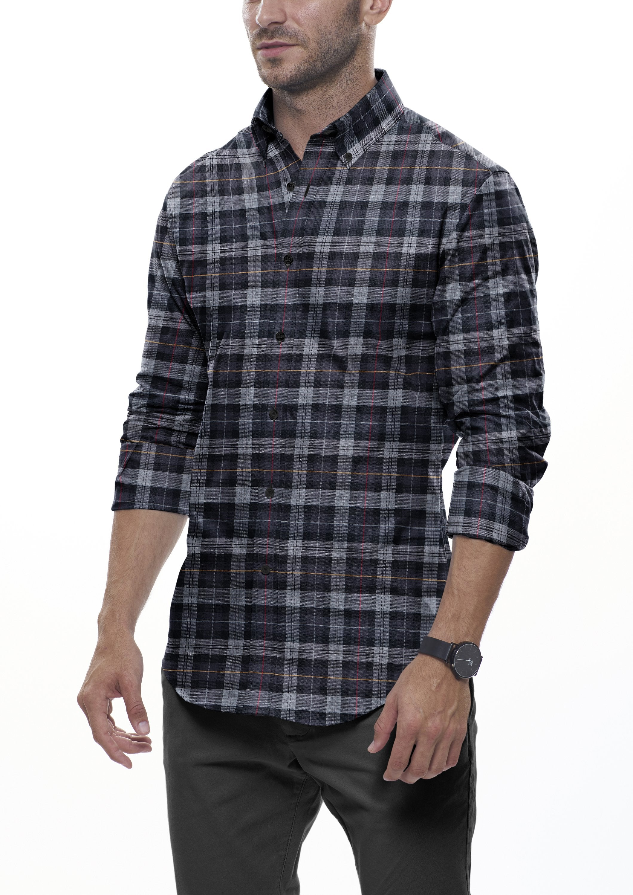 Black Tartan Flannel: Semi-Spread Collar, Barrel Cuff