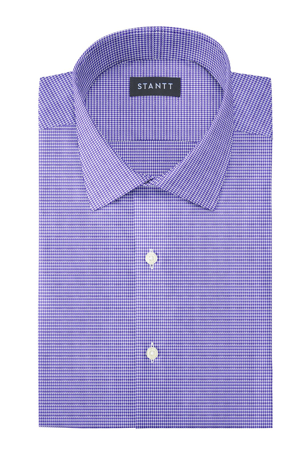 Purple Fancy Houndstooth: Modified-Spread Collar, Barrel Cuff