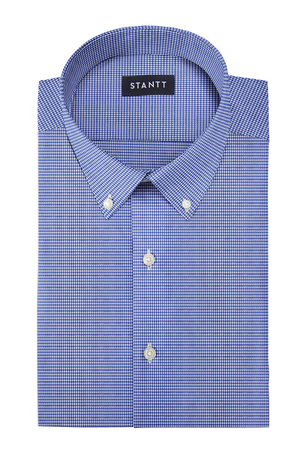 Navy Fancy Houndstooth: Button-Down Collar, Barrel Cuff