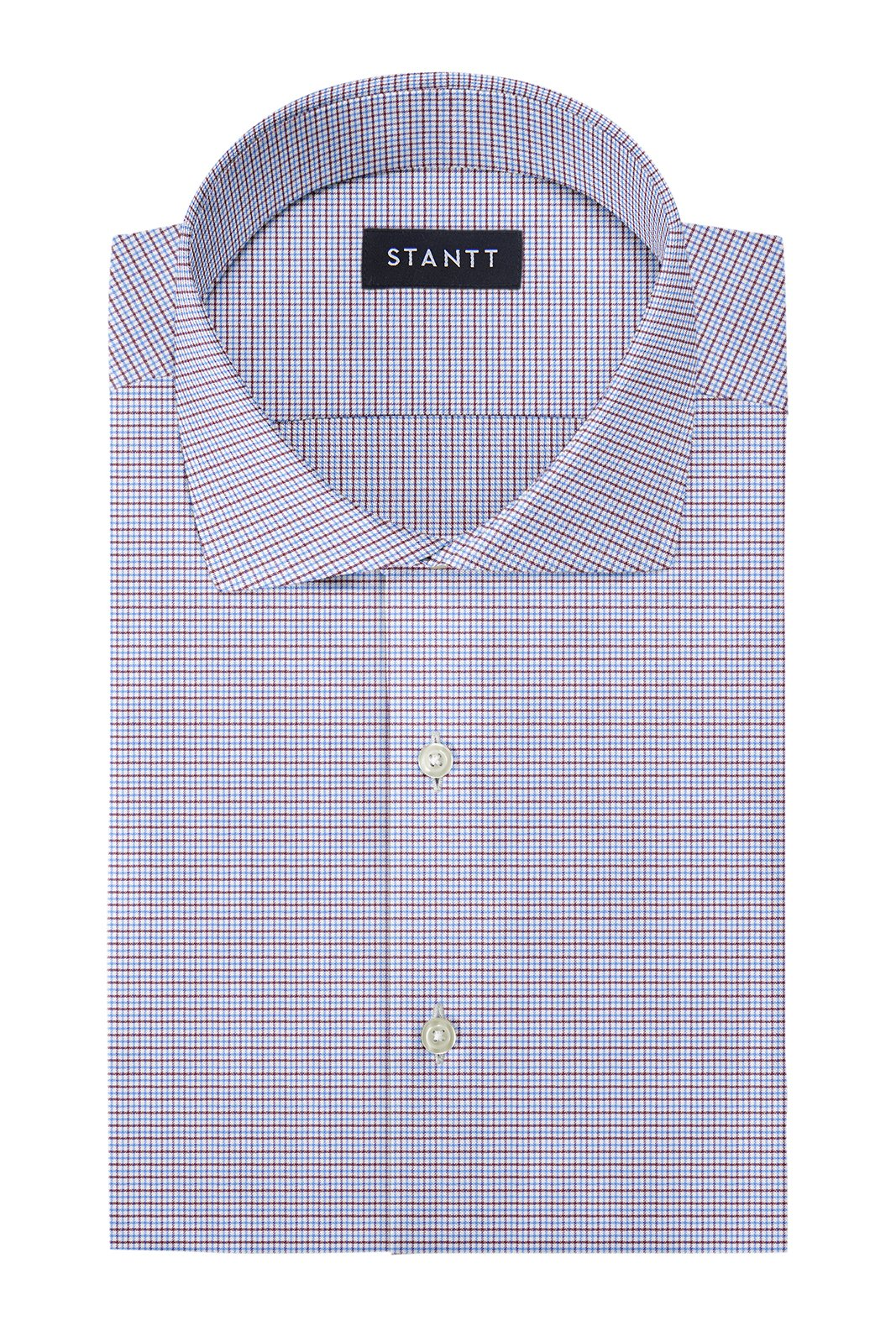 Performance Blue and Brown Mini Tattersall: Cutaway Collar, French Cuff