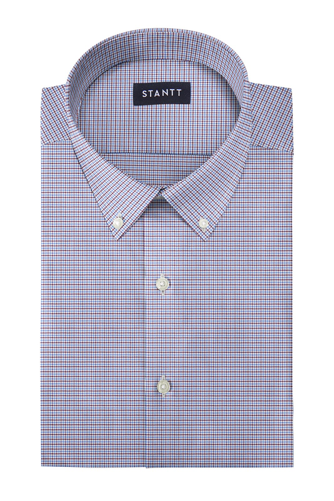 Performance Blue and Brown Mini Tattersall: Button-Down Collar, Barrel Cuff