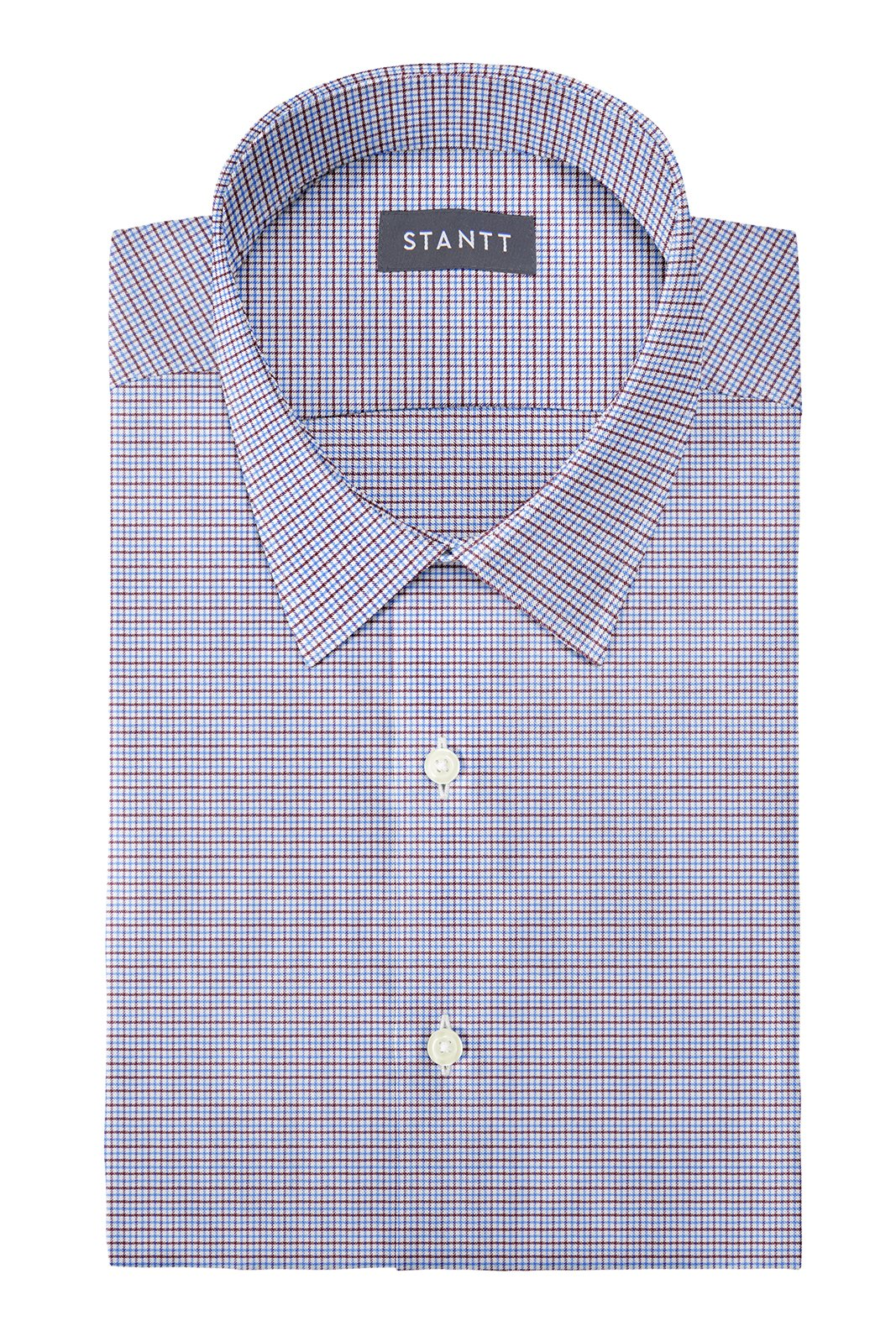 Performance Blue and Brown Mini Tattersall: Semi-Spread Collar, French Cuff