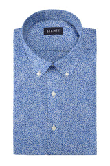 Indigo Blue Multi Floral Print: Button-Down Collar, Barrel Cuff