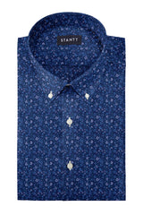 Navy Blue Ornate Floral Print: Button-Down Collar, Barrel Cuff