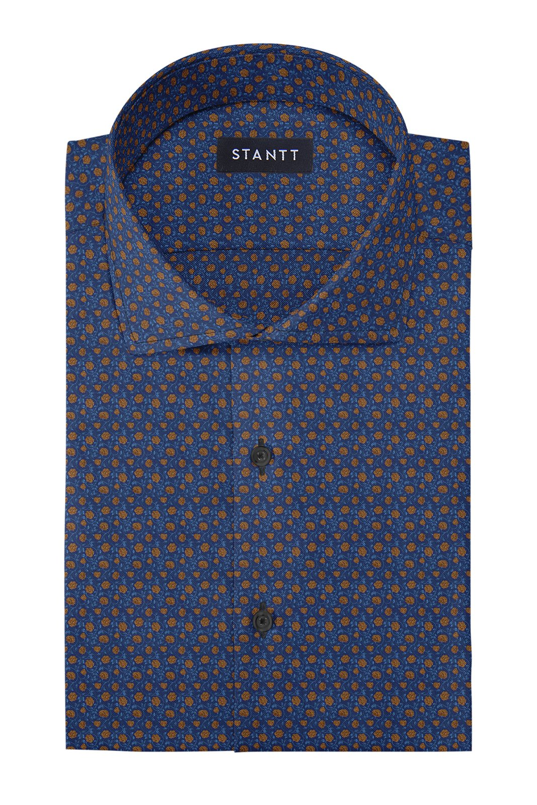 Golden Rose Print on Navy: Cutaway Collar, Barrel Cuff