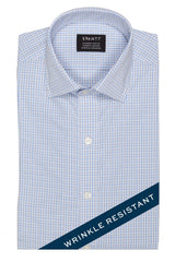 Wrinkle-Resistant Light Blue and Brown Bordered Tattersall: Modified-Spread Collar, Barrel Cuff