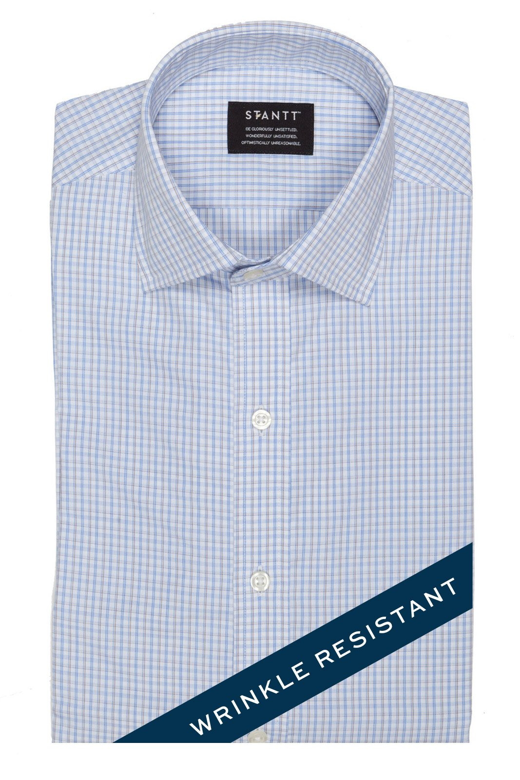 Wrinkle-Resistant Light Blue and Brown Bordered Tattersall: Modified-Spread Collar, French Cuff