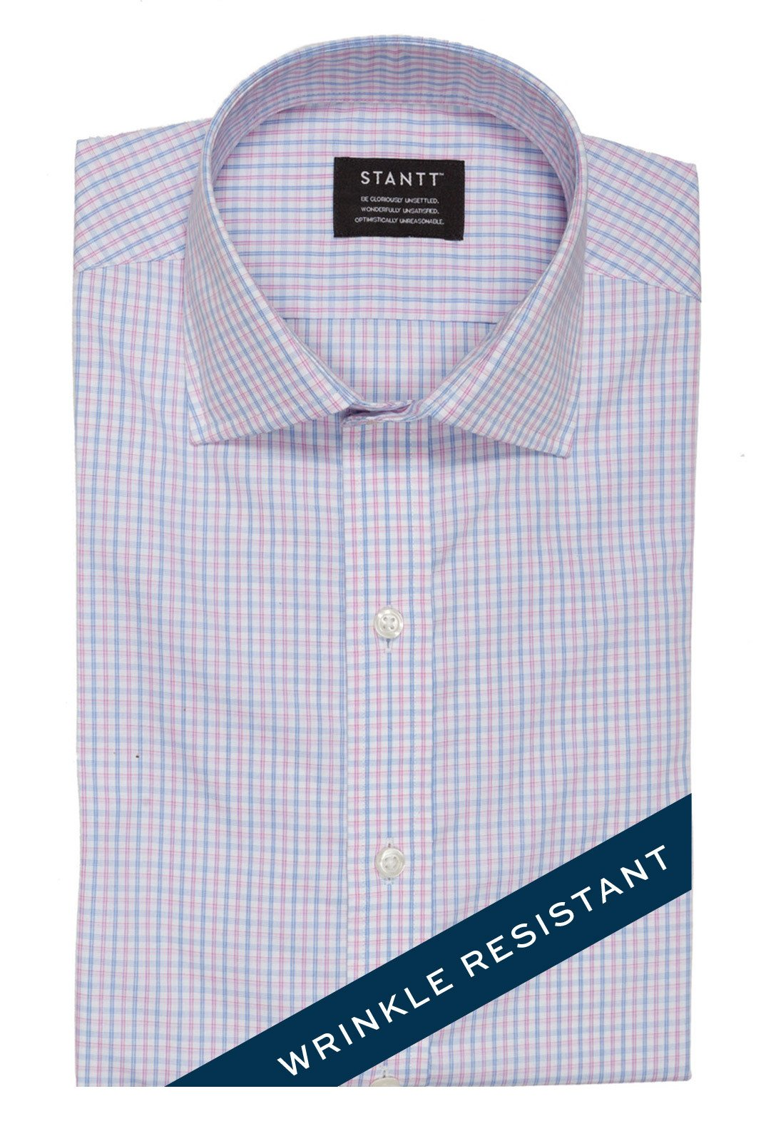 Wrinkle-Resistant Light Blue and Pink Bordered Tattersall: Modified-Spread Collar, Barrel Cuff