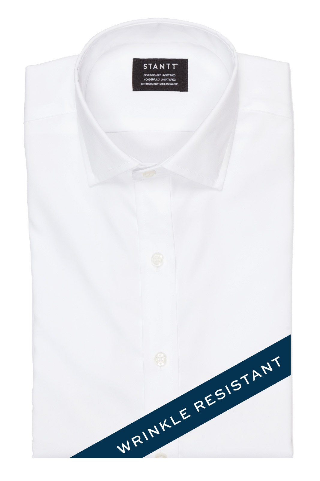 Wrinkle-Resistant White Oxford: Modified-Spread Collar, Barrel Cuff