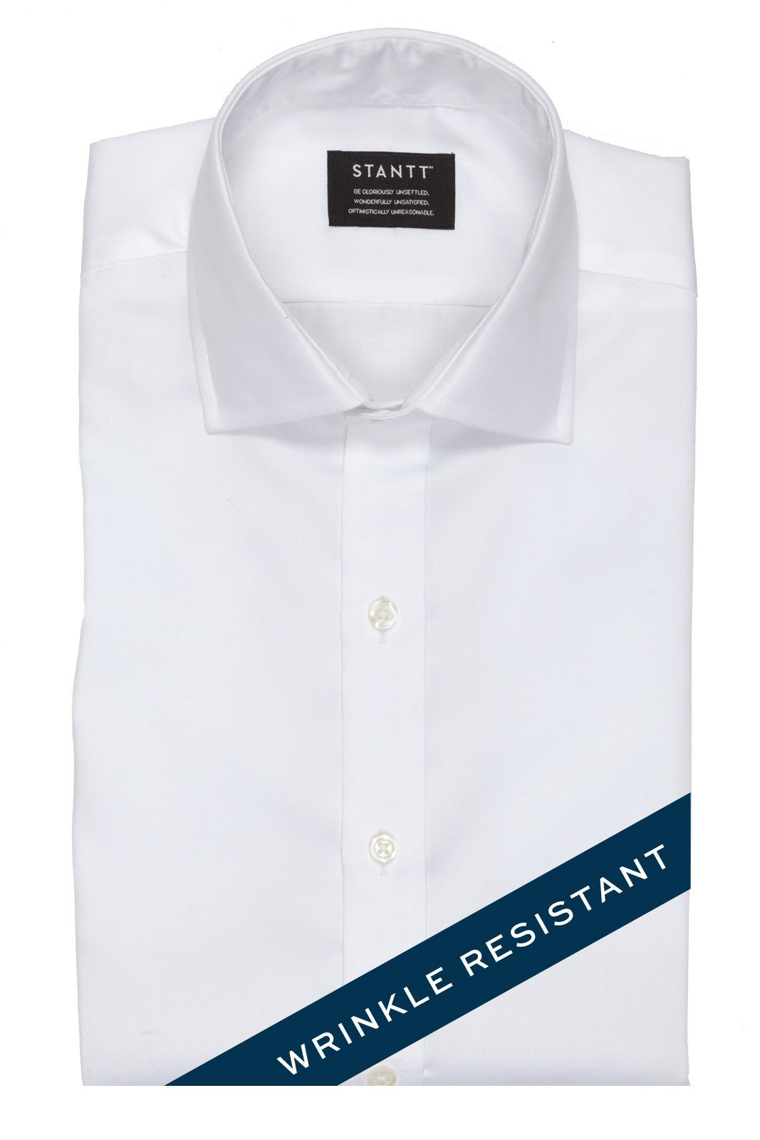 Wrinkle-Resistant White Twill: Modified-Spread Collar, Barrel Cuff