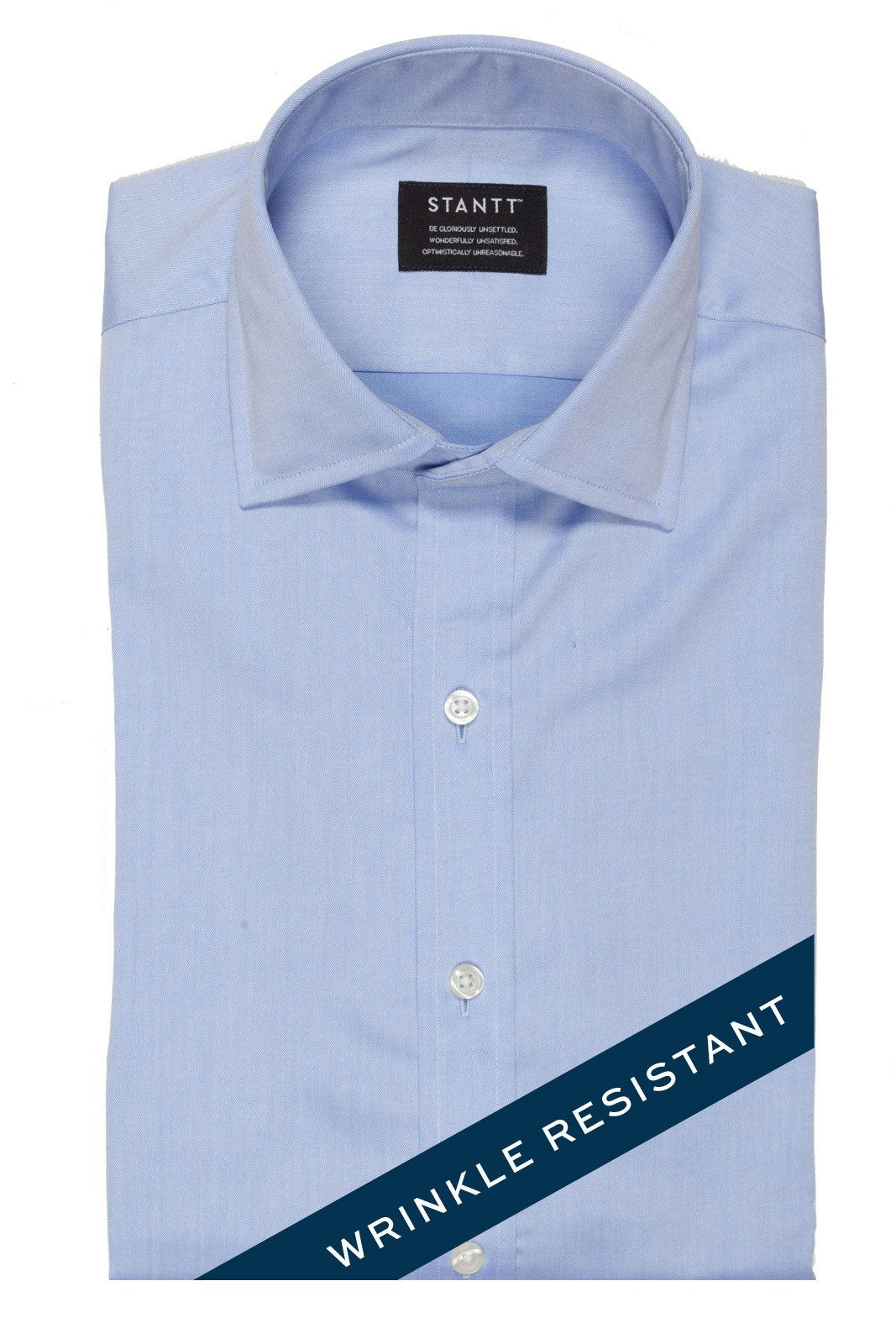 Wrinkle-Resistant Light Blue Twill: Modified-Spread Collar, Barrel Cuff