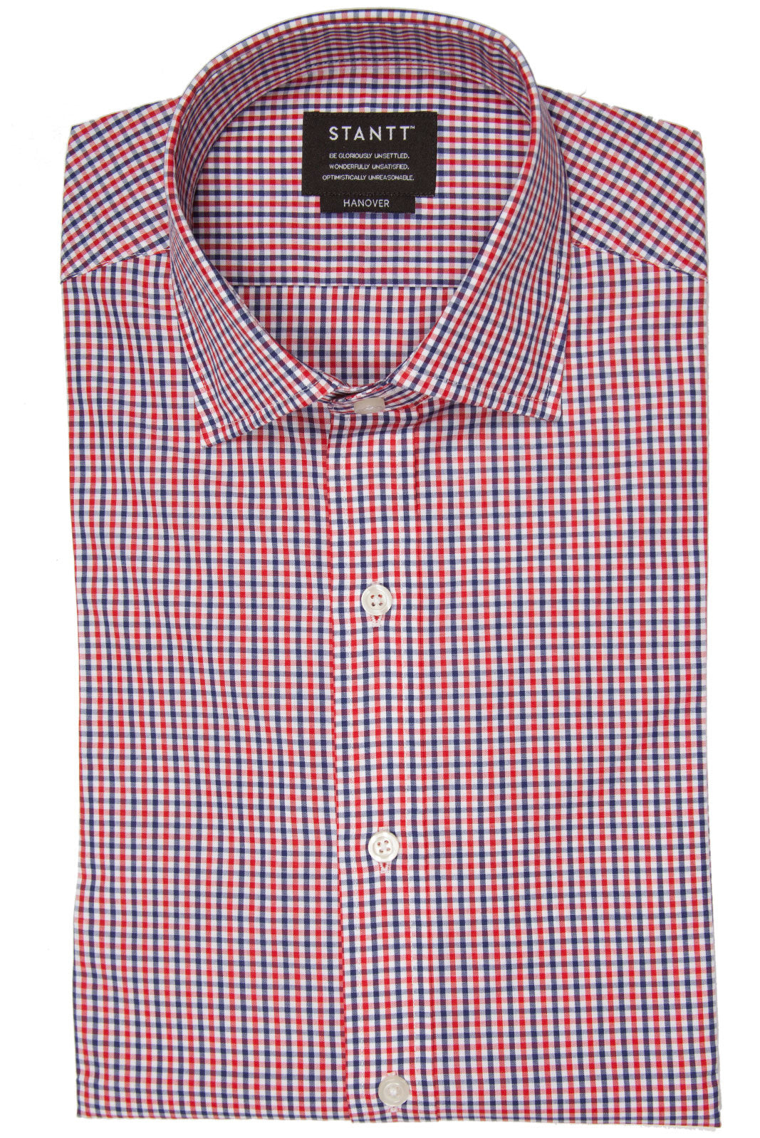 Navy and Red Gingham: Semi-Spread Collar, Barrel Cuff