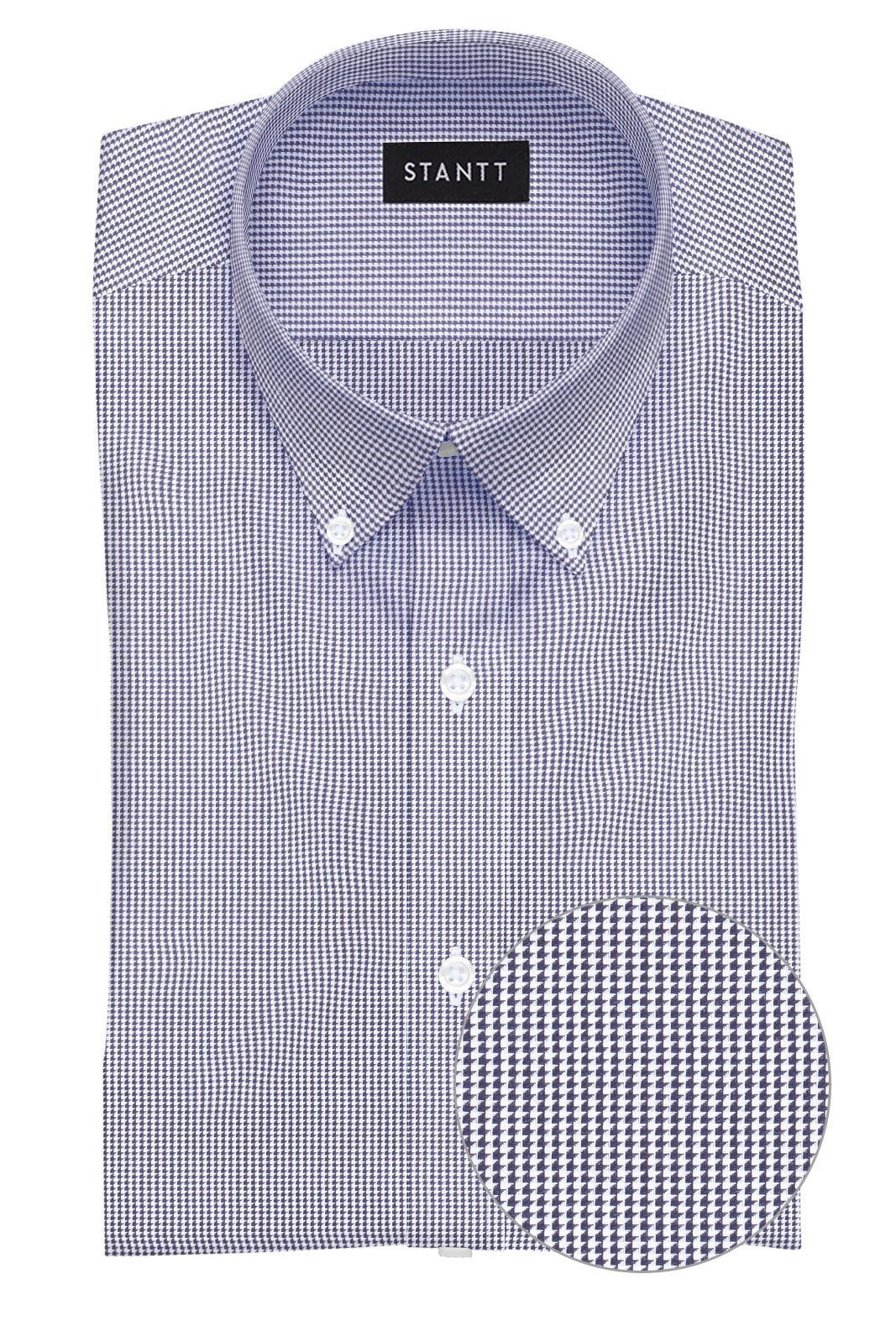 Black Micro Houndstooth: Button-Down Collar, Barrel Cuff