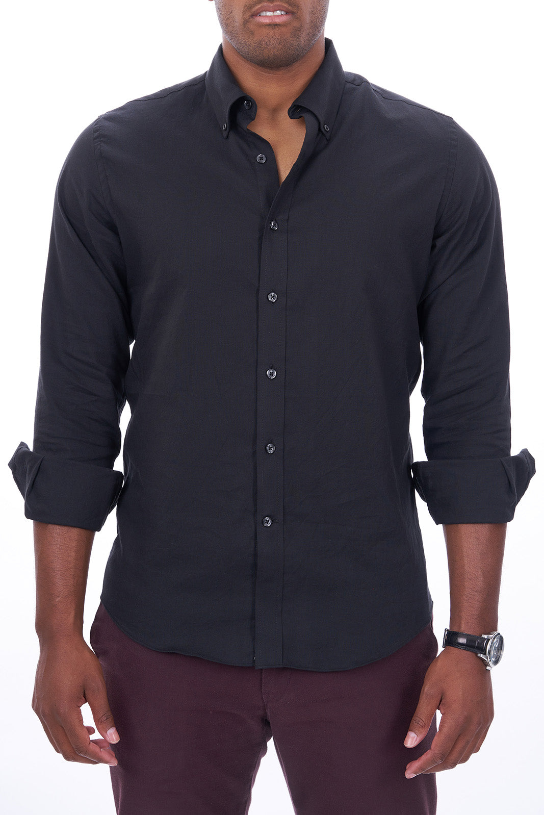 Black Oxford: Semi-Spread Collar, Barrel Cuff