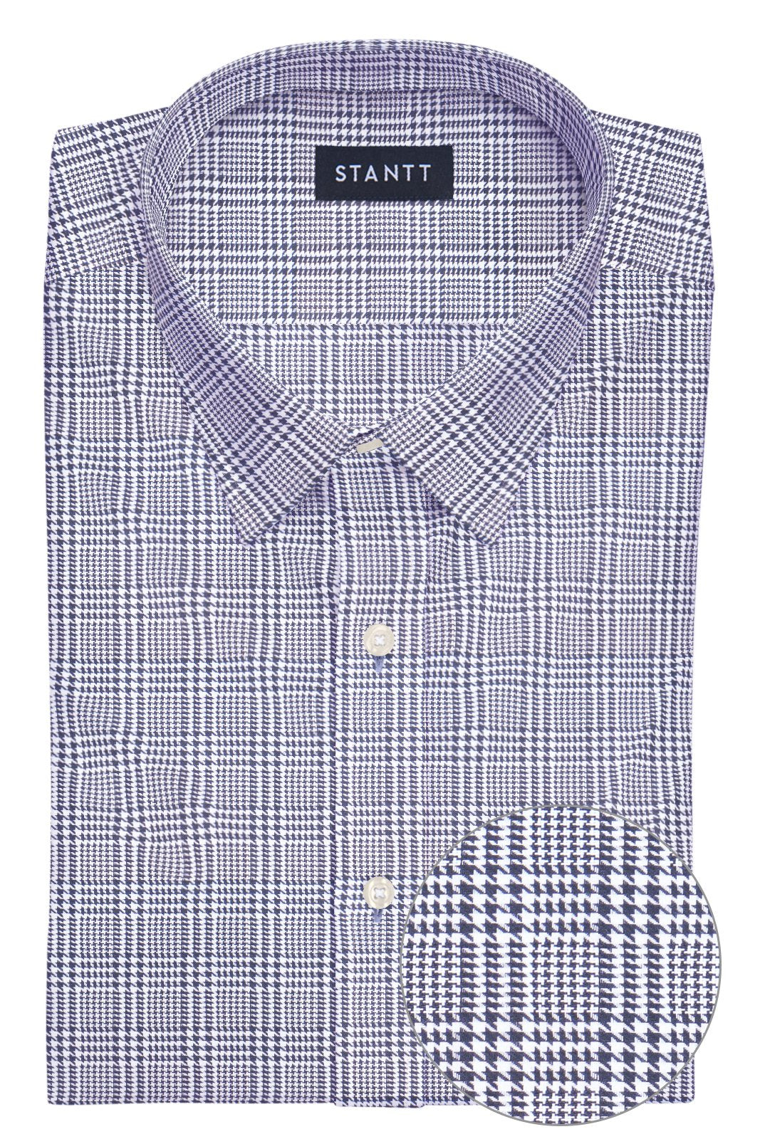 Black Prince of Wales Check: Semi-Spread Collar, Barrel Cuff