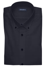Black Stretch: Button-Down Collar, Barrel Cuff