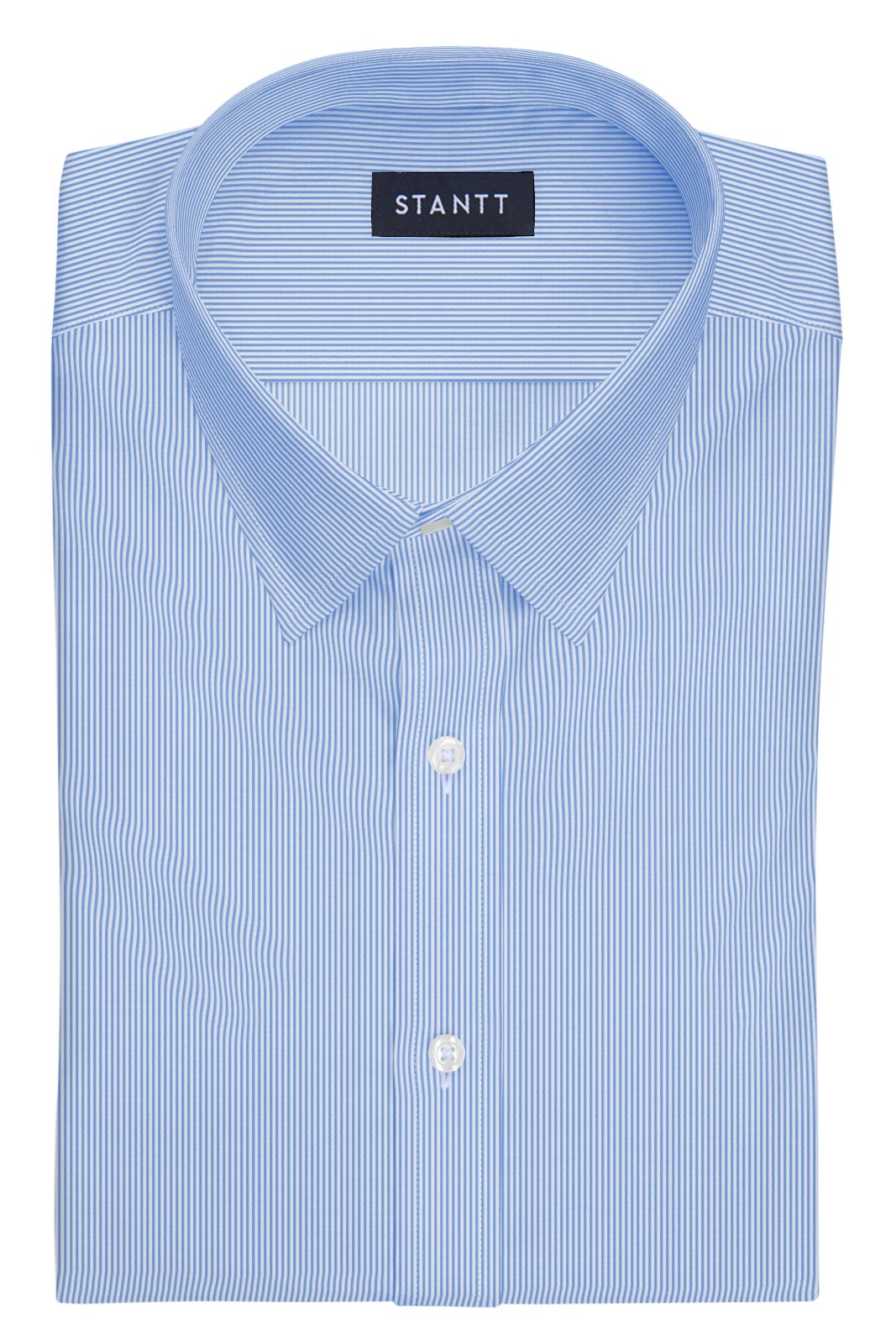 Blue Bengal Stripe: Semi-Spread Collar, French Cuff