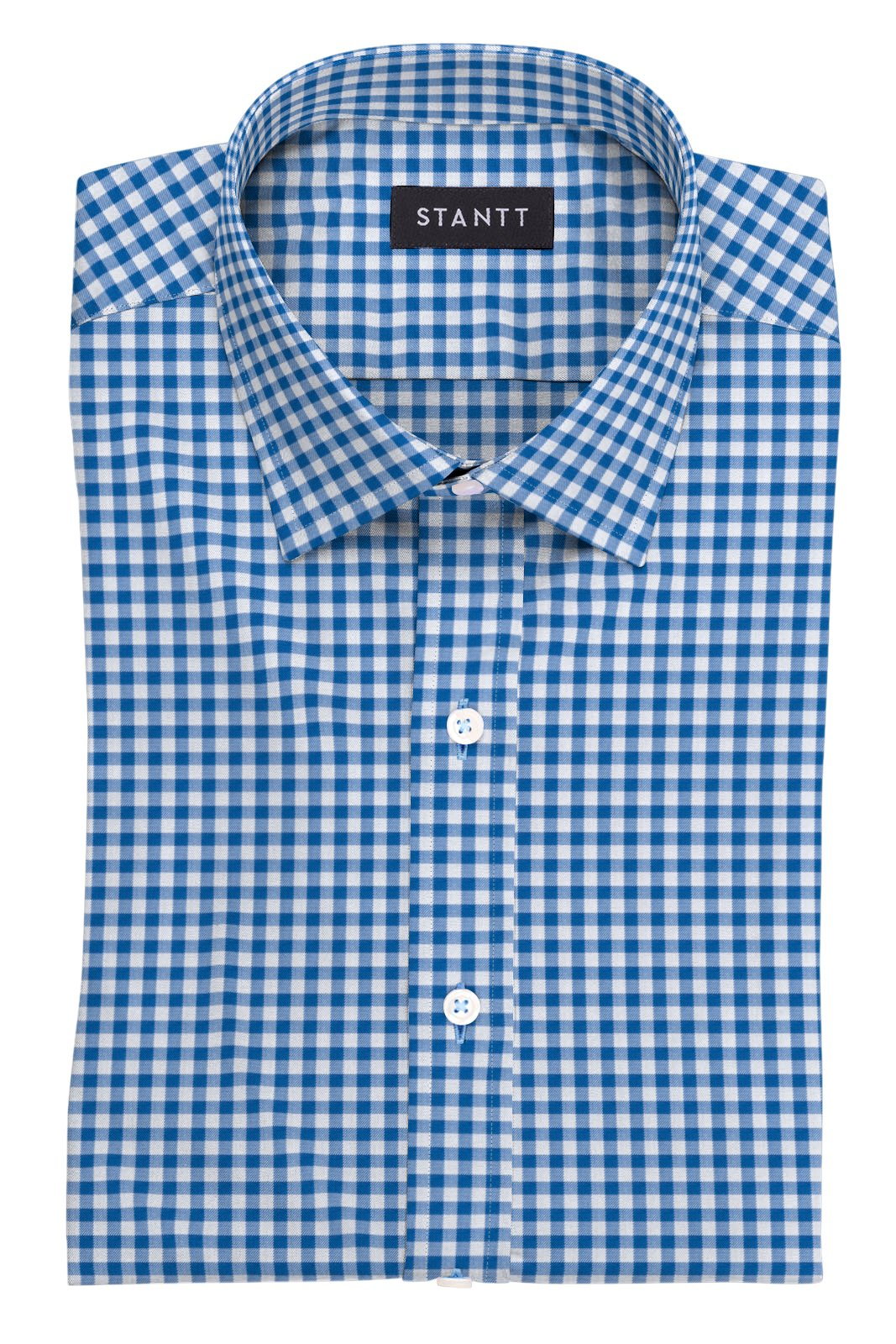 Blue Gingham: Modified Spread Collar, Barrel Cuff