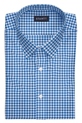 Blue Gingham: Semi-Spread Collar, Barrel Cuff