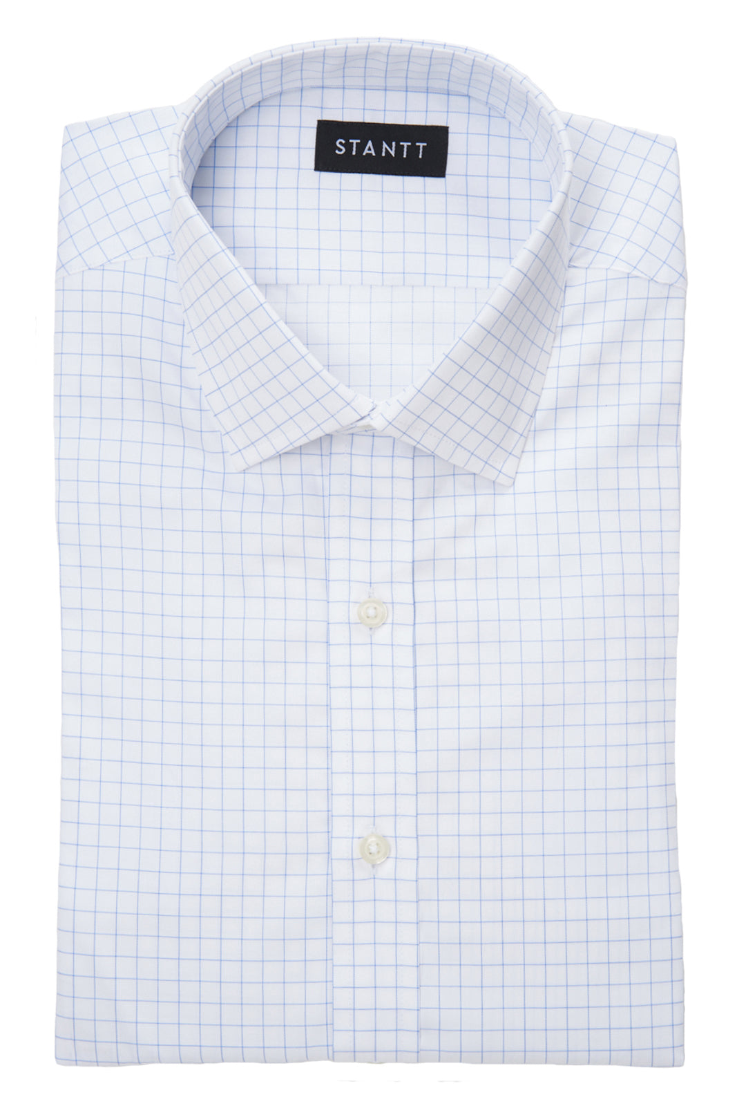 Blue Hairline Windowpane: Modified-Spread Collar, French Cuff