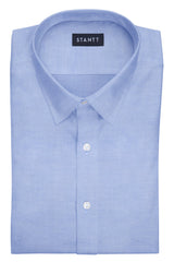 Blue Pinpoint Oxford: Semi-Spread Collar, Barrel Cuff