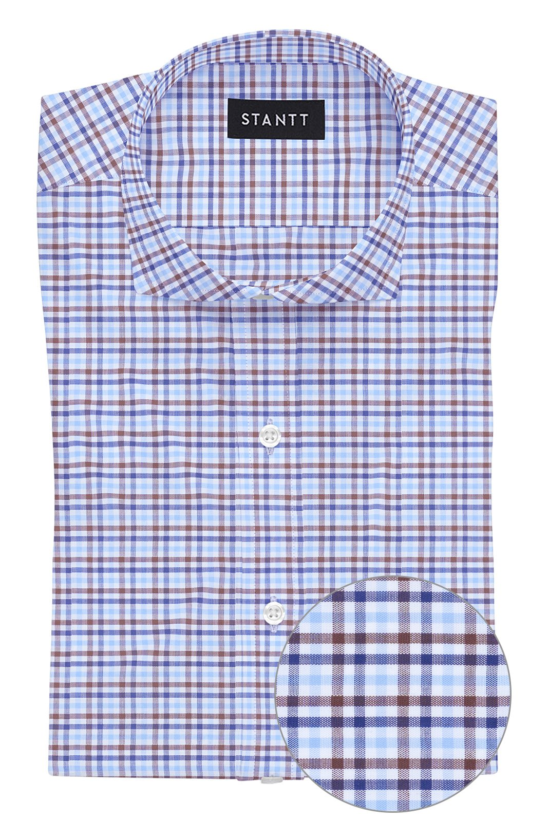 Blue and Brown Multi Check: Cutaway Collar, French Cuff