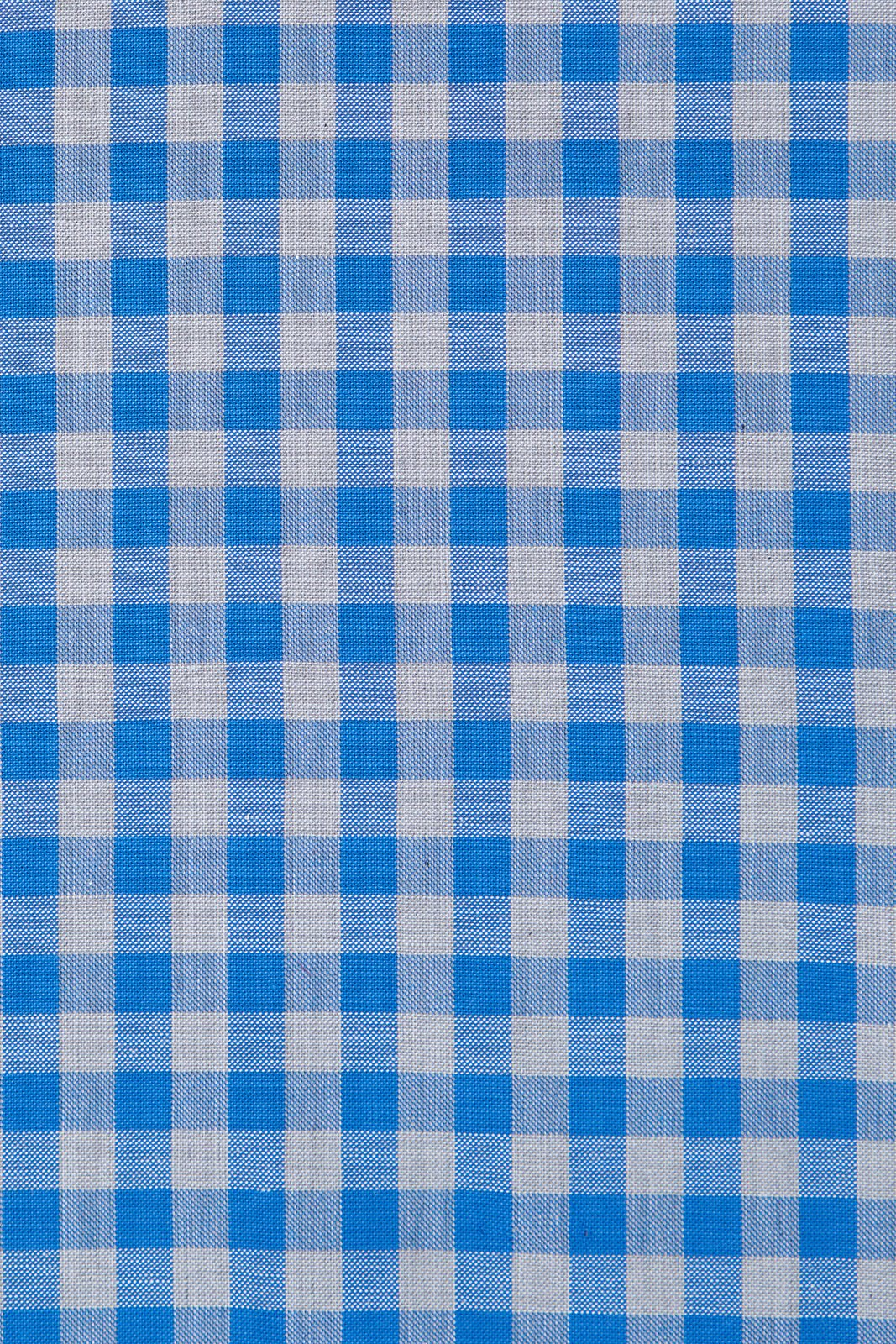 Blue and Grey Gingham: Modified-Spread Collar, Barrel Cuff